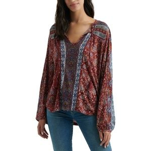 NWT Lucky Brand Beaded Peasant Top